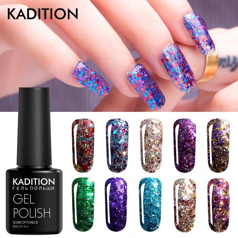 KADITION Soak Off Nail Gel Polish 3D Diamond Glitter UV Resin Nail Art 8ml Design Vernis Shining Semi Permanent Gel Varnishes