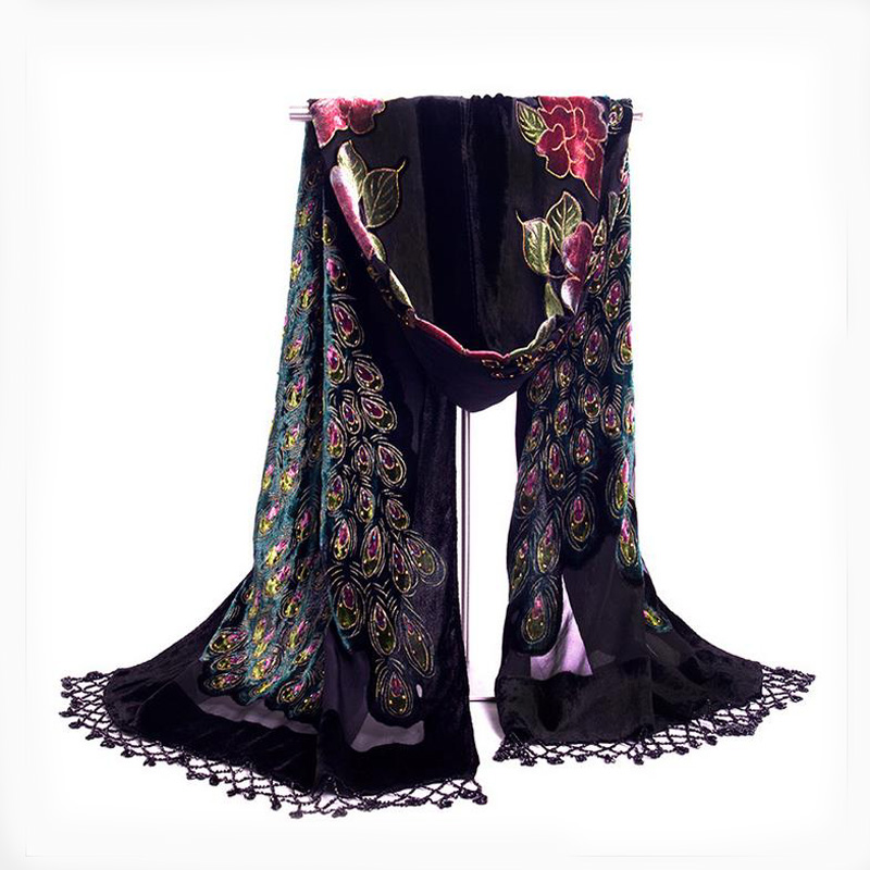 Image 4 - High Quality Purple Chinese Women's Velvet Silk Shawl Scarf Handmade Beaded Embroidery Peacock Shawl Scarf Wrap Scarves-in Women's Scarves from Apparel Accessories