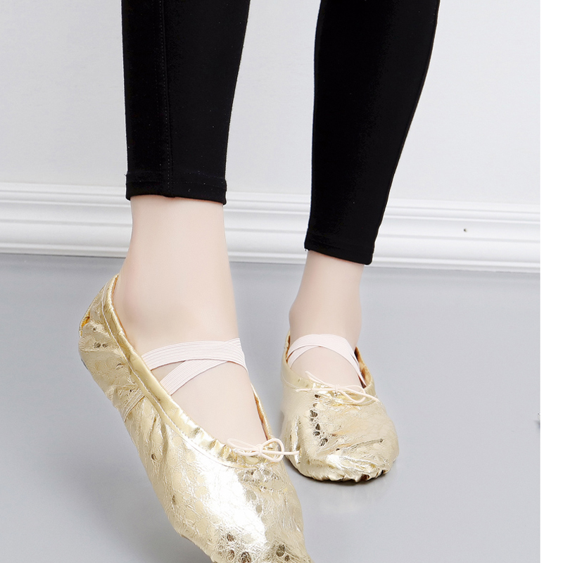 Picture of 2017 New Style Ballet Shoes Soft Sole Gold Silver PU Dance Ballet Shoes Fitness Practice Dance Shoes For Girls Women