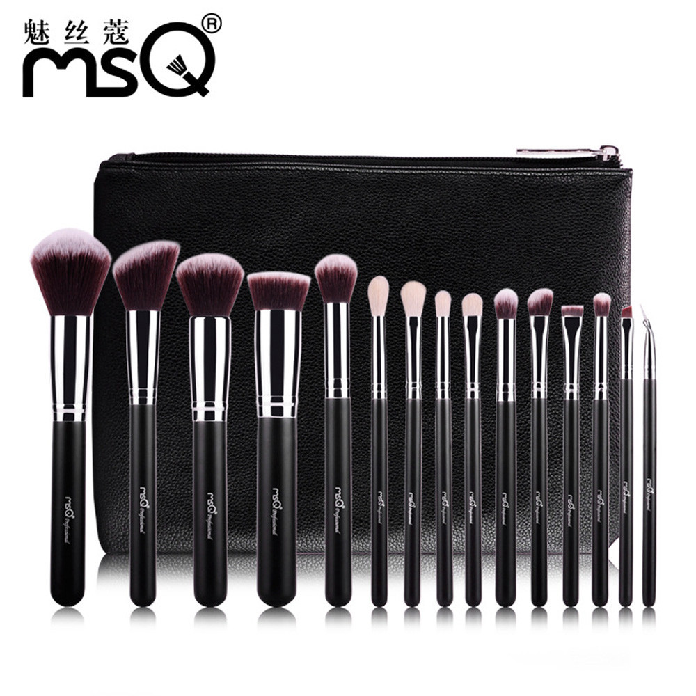 MSQ Pro 15pcs Makeup Brushes Set Powder Foundation Eyeshadow Make Up Brush Cosmetics Soft Synthetic Hair With PU Leather Case msq 29pcs makeup brushes set animal hair foundation powder eyeshadow make up brush kit with pu leather case