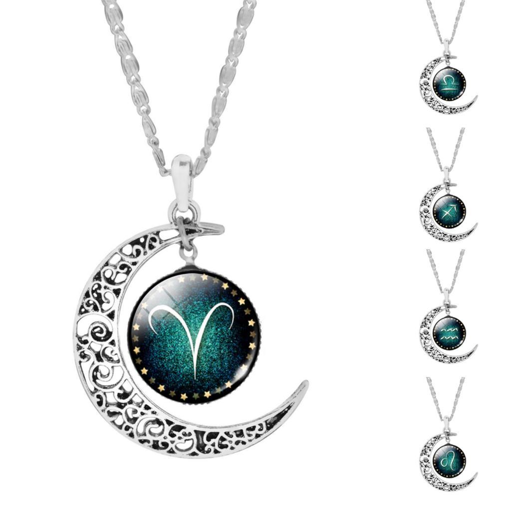 Joli 12 Pendentif Zodiaque en Verre Collier Fluorescence Bijoux Femmes Filles
