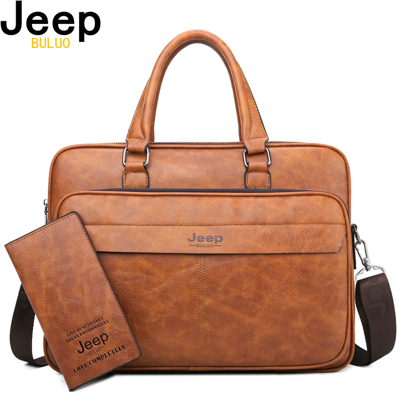 JEEP BULUO Famous Brand Men Briefcase Bag High Quality Business  office Work Leather Shoulder Bags Travel Handbag 14 inch  LaptopBriefcases