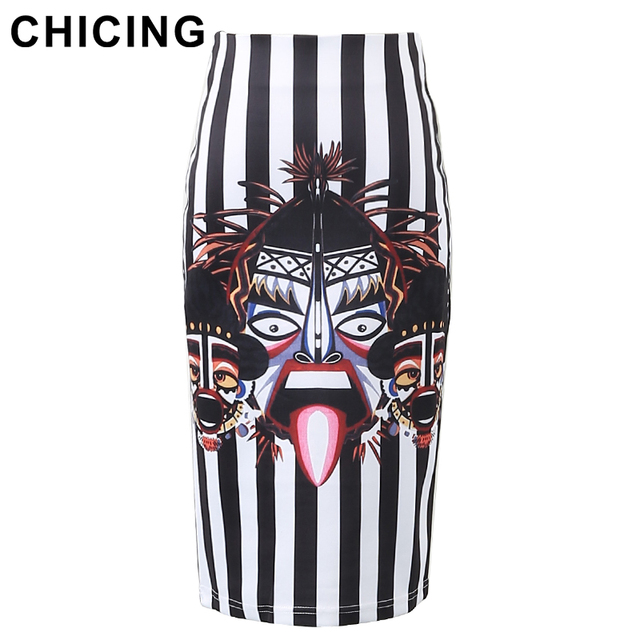 4691ad28ca CHICING Black and White Striped Totem Characters Floral Print Pencil Skirts  2018 Summer Retro Empire Bodycon Midi Saias A1606028