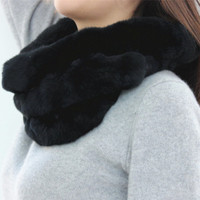 S1427 Lady Real Rex Rabbit Fur Scarf Women Winter Neck Warm Neckerchief Grade A Quality Retail