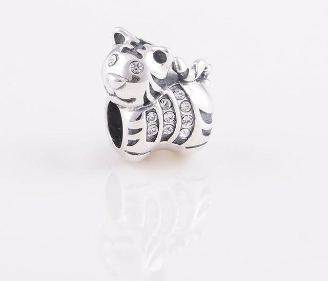 Se adapta a pandora chamilia encanta la pulsera de cuentas de plata esterlina lindo bebé tigre encanto con crystal mujeres joyería al por mayor diy