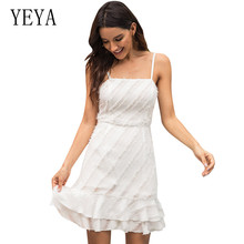 YEYA New Womens Diagonal Stripes Stitching Double Ruffled Hem Holiday Beach Strap Dress Summer Sexy Spaghetti