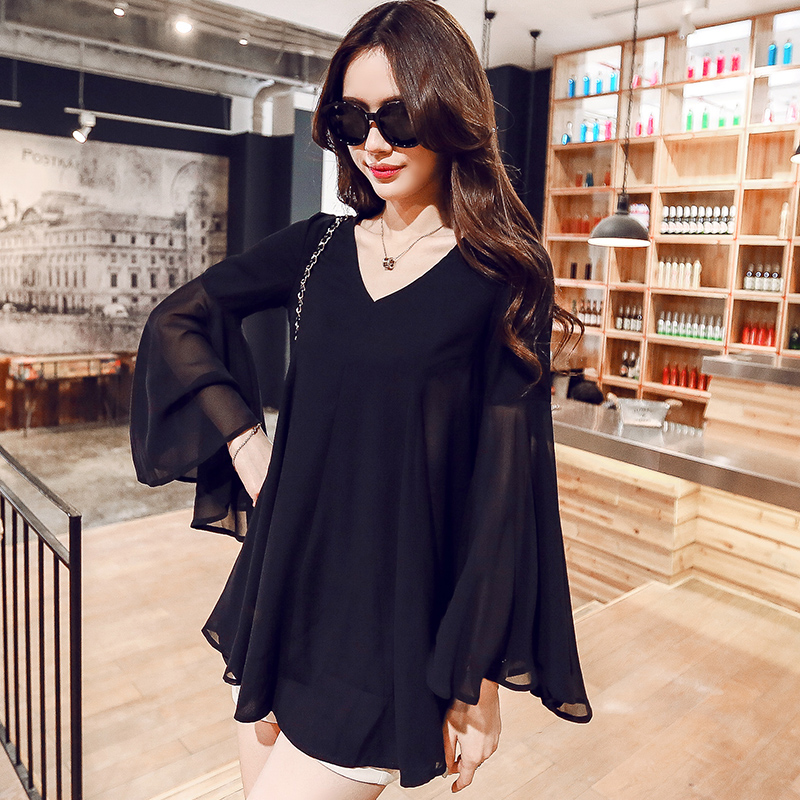 2020 Summer New Tops Black Flare Sleeve Patchwork Chiffon Blouse Sexy V-Neck Loose Plus Size Women Clothing 4XL 5XL