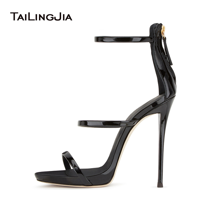 Black Women Three Straps High Heels Basic Strappy Heeled Dress Shoes Rose  Gold Patent Leather Shiny Blue Slim Platform Sandals 8764e05cfa53