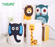 цены Thours Cartoon Animals Collapsible Large Laundry Basket Dirty Clothes Storage Bucket Monkey Kids Toys Organizer Barrel