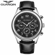 LUXURY GUANQIN Top Brand Men Automatic Self Wind Date Watch Men s Fashion Casual Leather Mechanical