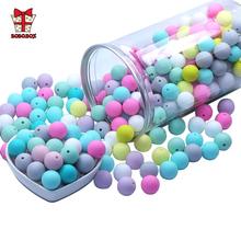 BOBO BOX 9mm 50 sztuk kulki silikonowe perły silikonowe Food Grade koraliki ząbkowanie DIY BPA darmowa biżuteria zabawka gryzak dla dziecka łańcuszek smoczka tanie tanio BOBO BOX Pojedyncze załadowany Lateksu Nitrosamine darmo Ftalanów BPA za darmo KAT001 Silicone beads ROUND 4 miesięcy