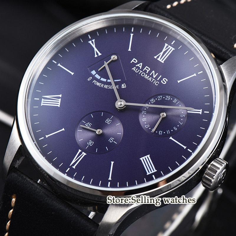 42mm parnis 블루 다이얼 로마 숫자 파워 리저브 st 1780 자동식 무브먼트 남자 손목 시계-에서기계식 시계부터 시계 의  그룹 1