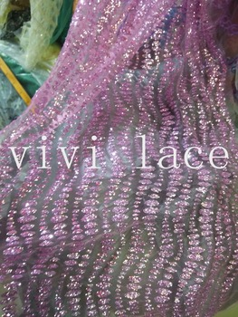 5yards HL377 dobby purple hand made print glitter tulle african India dress fabric for wedding dress/evening dress/party,by dhl