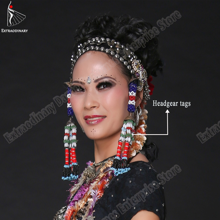 Belly Dance Headgear Tags Hanging Beads Tassel Tribal Accessory Hand Made Headwear Gypsy Women Stage Performance JewelryBelly Dancing   -