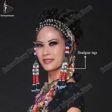 Oryantal dans başlık etiketleri asılı boncuk püskül Tribal aksesuar el yapımı şapkalar çingene kadın sahne performansı takı