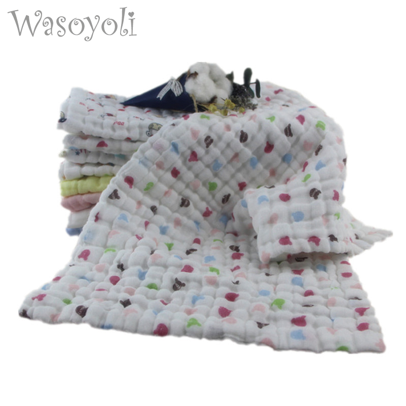 Wasoyoli 5 Peices / Lot 20*40cm 6 Layers Soft Handkerchief 100% Muslin Cotton Seersckuer For Baby Feeding Face Washing Bathing