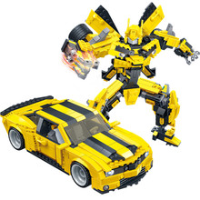 2 in 1 Big Robot Yellow Car Blocks 584pcs Building Blocks Set Bricks Assembled Models Educational Toys For Children Gift 8715