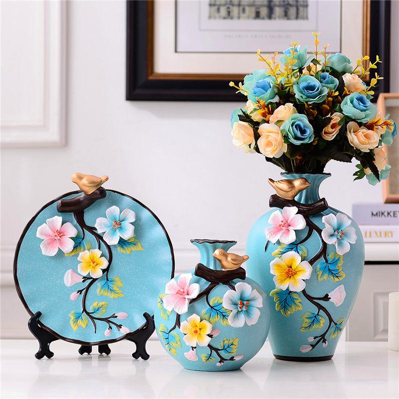 Modern ceramics Vase Creative Tabletop 3-piece Multicolor vases Dried flowers nordic wedding home decorative crafts