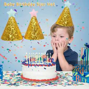 Birthday Hat Cake Decorations Golden Baby with Colorful Star Kid Cupcake Toppers Cute