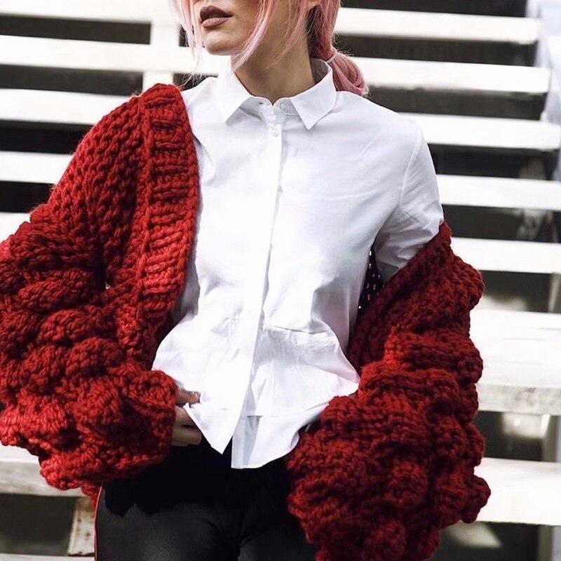 Coréenne Femmes Style Gray Cheveux Automne pink Manches Pour Lanterne Hiver Sweater khaki Sweater Chandail 2018 Twotwinstyle Sweater Les Sweater Cardigan De Évider Ampoule red qa6WpEZ