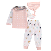 Autumn Winter Baby Girl Clothes Cotton Pink Long Sleeve T Shirt Pants Hat Kids 3pcs Suit