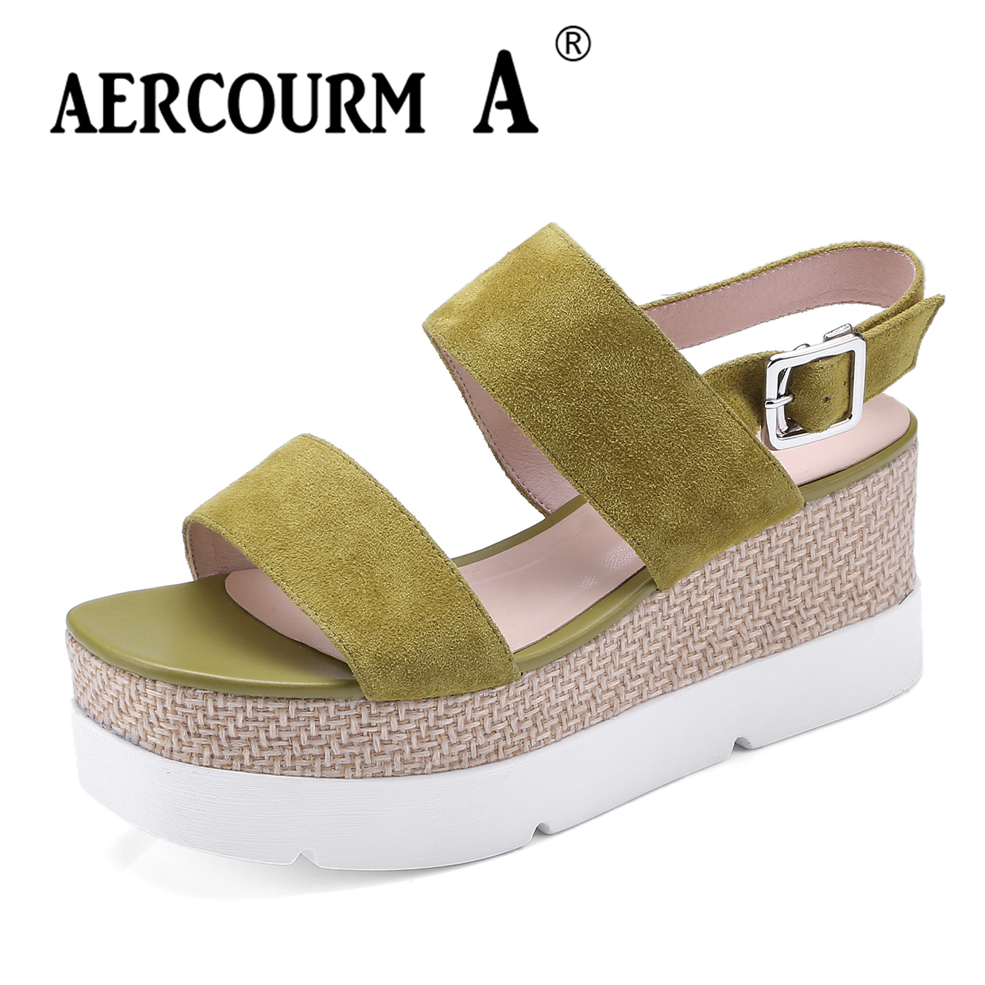 Aercourm A Women Wedges Heel Sandals Female Genuine Leather Shoes Lady Buckle Solid Summer Shoes 2018 New Waterproof Shoes DT253 aercourm a 2018 women black fashion shoes female bright genuine leather shoes pearl high heel pumps bow brand new shoes z333