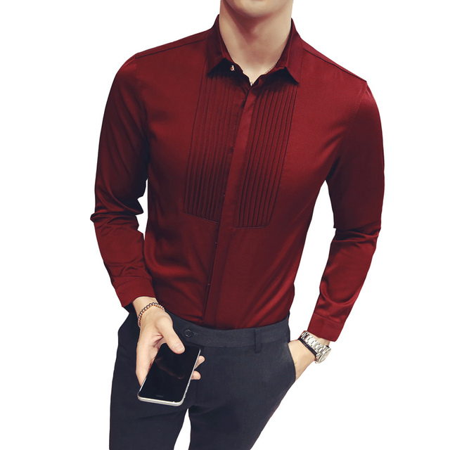 Us 23 66 30 Off Pleated Wedding Shirt 2017 Long Sleeve Wine Red Black White Mens Dress Shirt Business Formal Party Shirt Chemise Homme Plus 5xl In