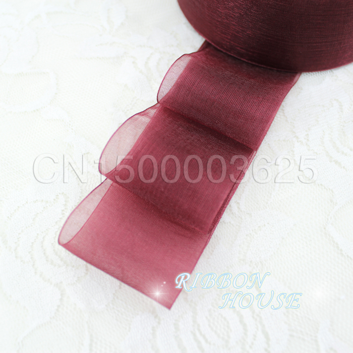 40mm wine red organza ribbons wholesale gift wrapping decoration christmas ribbons