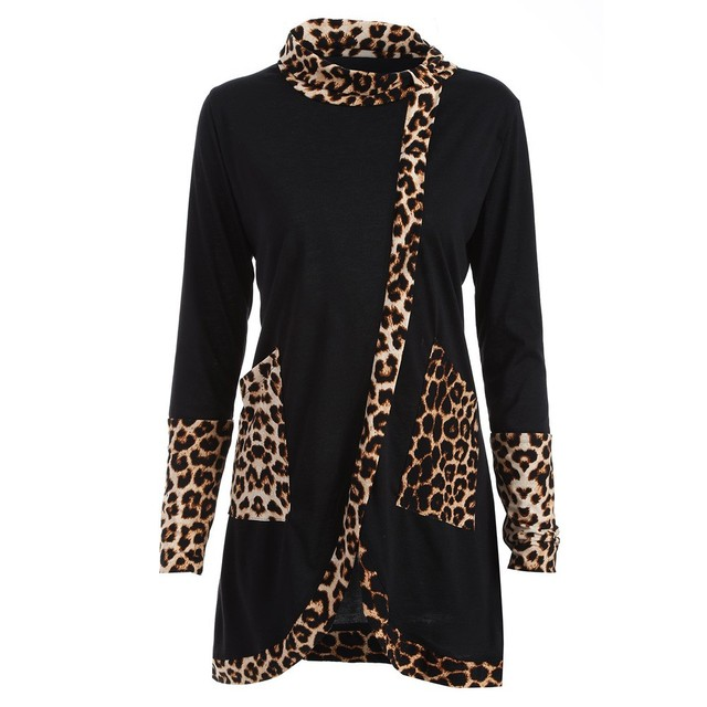 2018 Women Casual Leopard Print Cowl Neck Long Sleeve Patchwork Coat Size S-XXL Long Female Clothing with Pockets