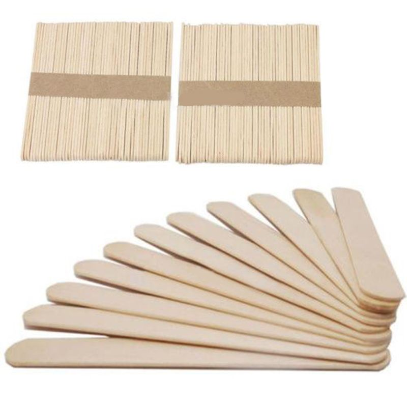 Shellhard 50pcs Disposable Tongue Depressors Wooden Hair Removal Tattoo Waxing Stick Tongue For Beauty Tools 114mm x 10mm x 2mm