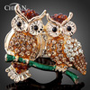 Wholesale 18K Gold Plated Twin Eagle Rhinestone Party Rings Fashion Women Korean Style Animal Jewelry Accessories