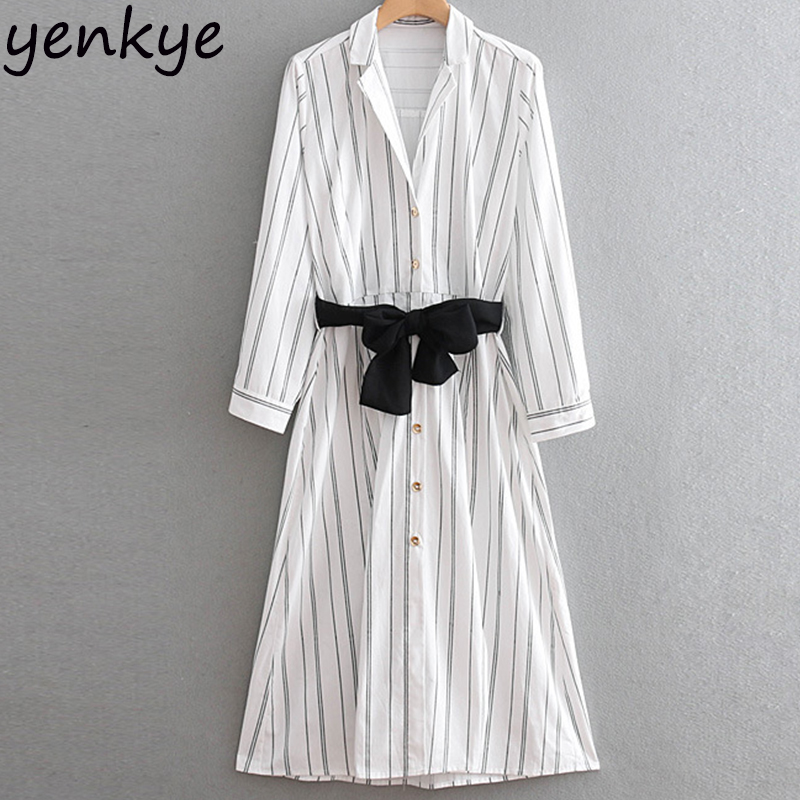 Women With Belt Striped Shirt Dress Female Turn-down Collar Rolled-up Sleeve  Casual 61207fec4