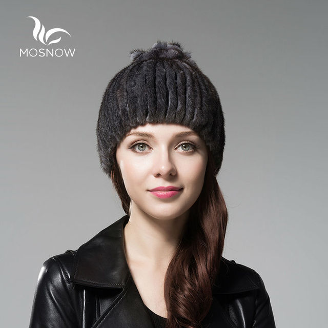 MOSNOW Real Mink Fur Woman Winter Hats With Flower Cluster Top Stripe Luxury Elegant Beanies And Caps Female Tocas