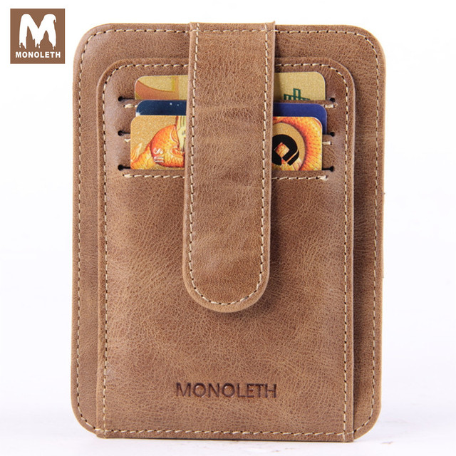 MONOLETH New  Genuine Leather Brand Card & ID Holders men mini Vintage Designer Male 11 card slots W1017