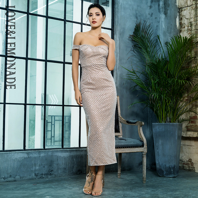 Love Lemonade Sexy Off the Shoulder Open Back Plating Glue Material Party  Dress LM81349SILVER f9d90d8db830