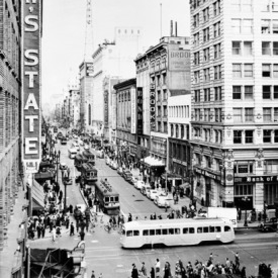 USA  California  Los Angeles  Broadway from 7th Street Poster Print (18 x 24)