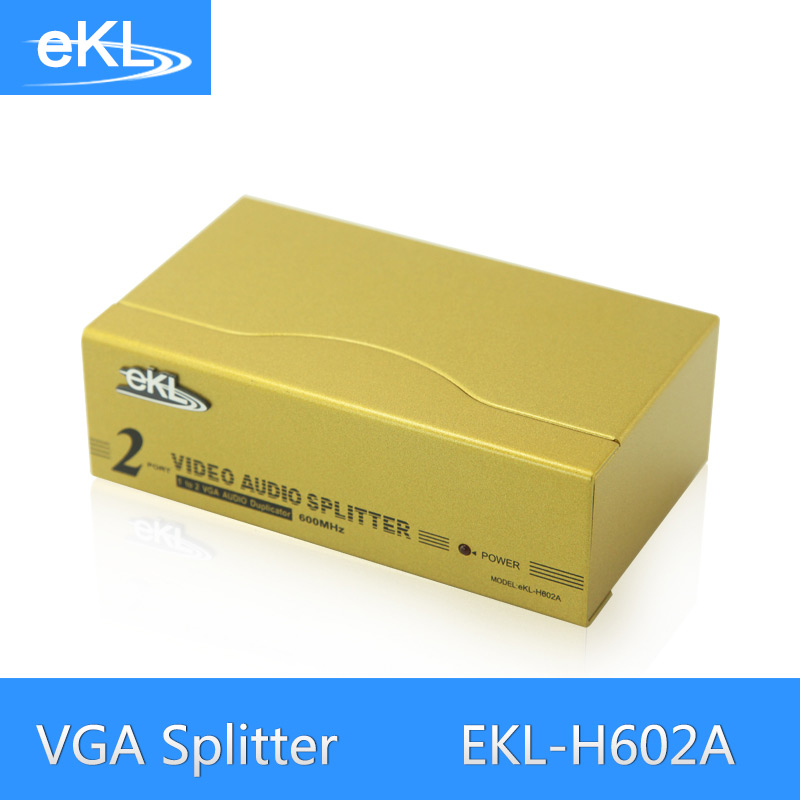 все цены на  EKL 2 Port VGA Splitter Metal 600MHz High Frequency 1 In 2 Out VGA Distributor With Audio  онлайн