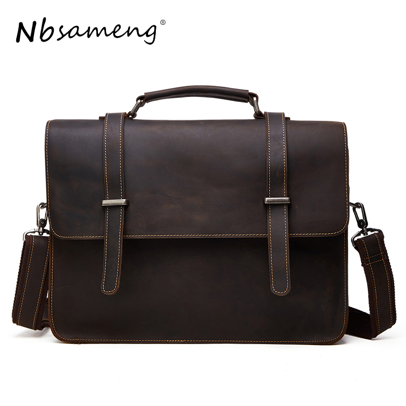 NBSAMENG 100% Genuine Leather Shoulder Bags Versatile Casual Crazy Horse Handbag Men Messenger Bag Business Briefcase Tote vintage genuine leather men briefcase bag business men s laptop notebook high quality crazy horse leather handbag shoulder bags