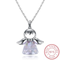 Real Solid 925 Sterling Silver Jewelry Necklaces For Women Party Jewelry Shining Crystal Sweet Angel Girl