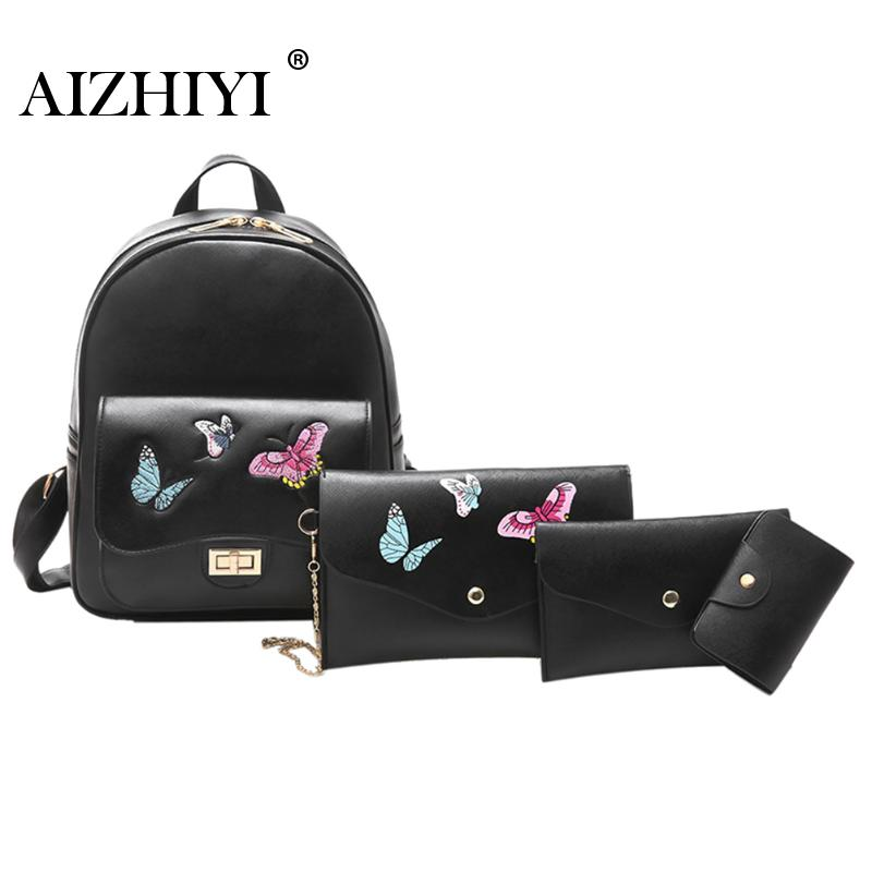 Female Package Fashion PU Shoulder Bag 4Pcs/Set Leisure Travel Butterfly Embroidery Large Capacity Backpack Purse+Shoulder Bags