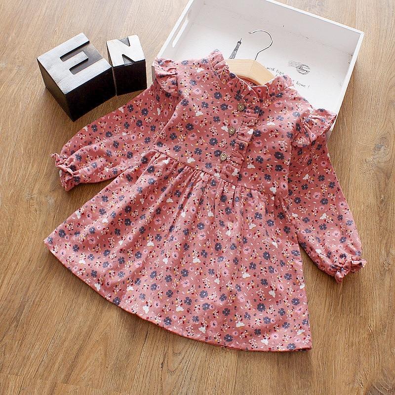 Girls Clothing Children Dress Long-Sleeve Cotton Fashion Floral