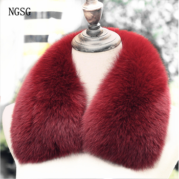 NGSG Real Fox Fur Collar Women Men Genuine Natural Silver Fox Fur Scarf Square Solid Winter Warm Coat Scarves Collar LZ1129 image