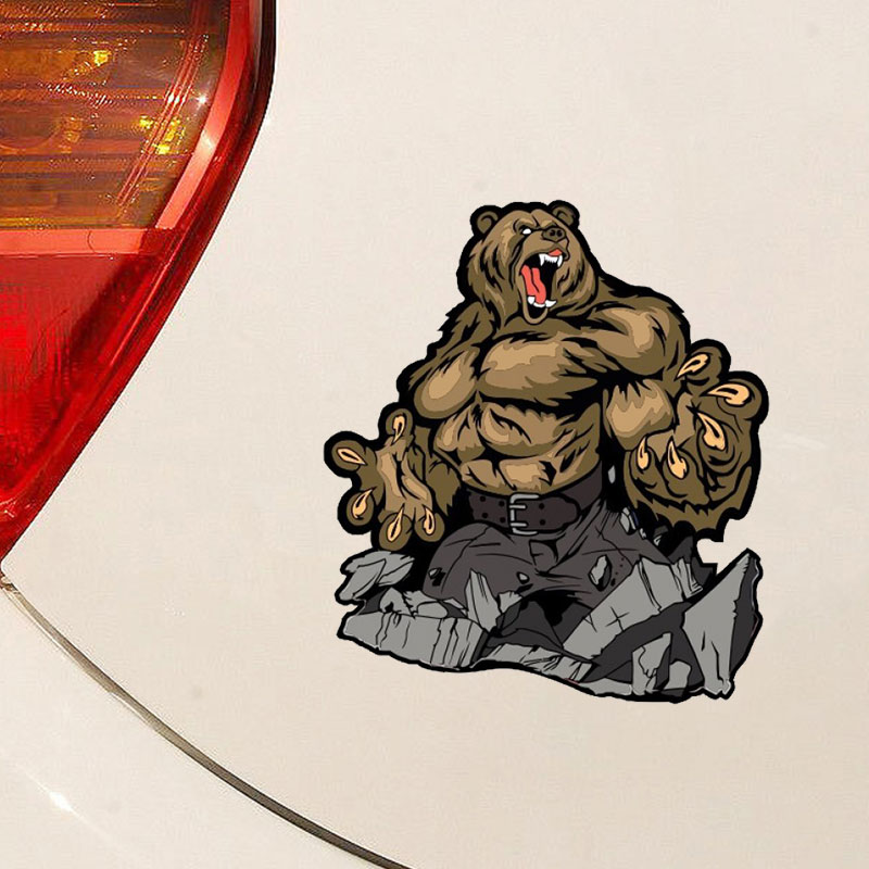 Ferocious Bear Car Sticker PVC Waterproof Window Decals for Cars Styling Tuning Funny Cool Glass Decoration Fashion Animal Bomb image