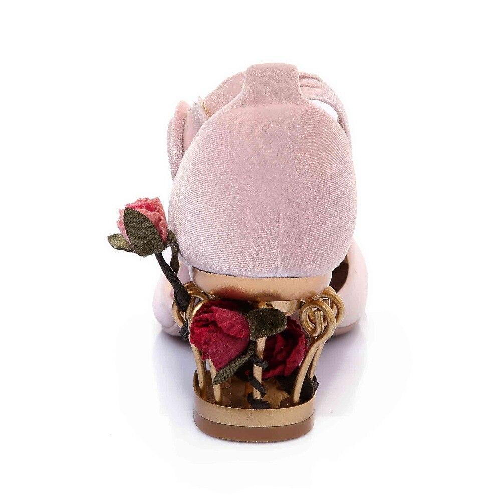 Krazing Pot 2019 nowy mody marki buty luksusowe duży rozmiar kwiat wysokie obcasy kobiety pompy party ślubne klatki dla ptaków buty damskie l88 w Buty damskie na słupku od Buty na  Grupa 3