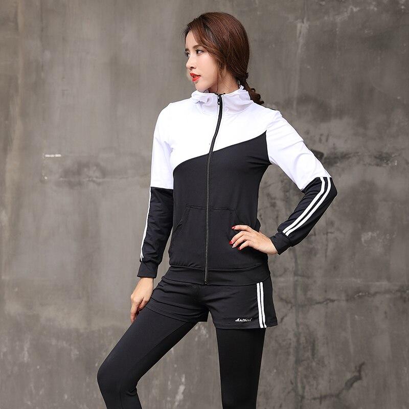 2018 Women Yoga Set Long Sleeve Fitness Breathable Zipper Jacket Sport Bra Yoga Shirt Running Pants Short 5 Pieces Jogging Suit - 5