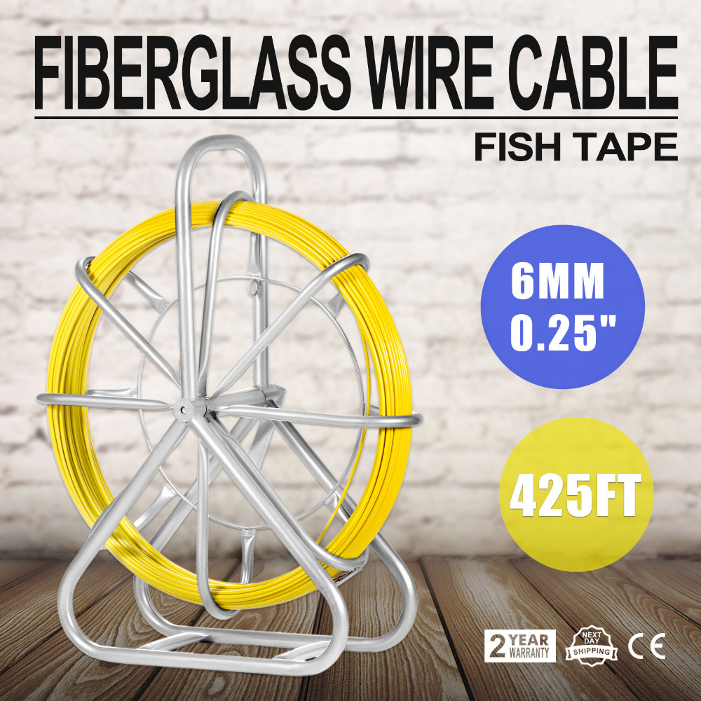 6MM x 425/' FISH TAPE FIBERGLASS WIRE CABLE 130M PUSH ROD DUCT FISH HOLDER HOT