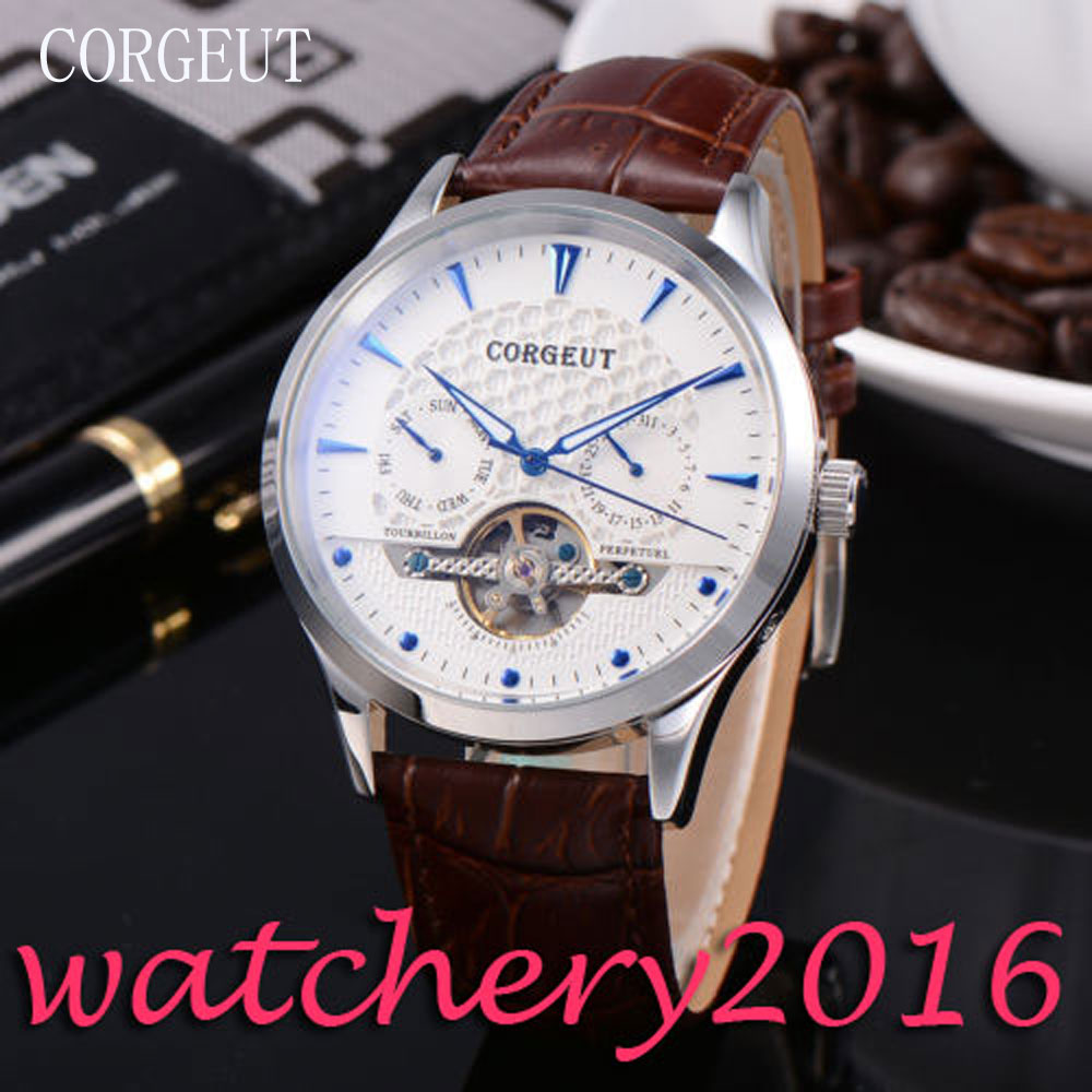 Casual Corgeut 44mm White Dial Blue Markers polished bezel Automatic movement Men's Watch