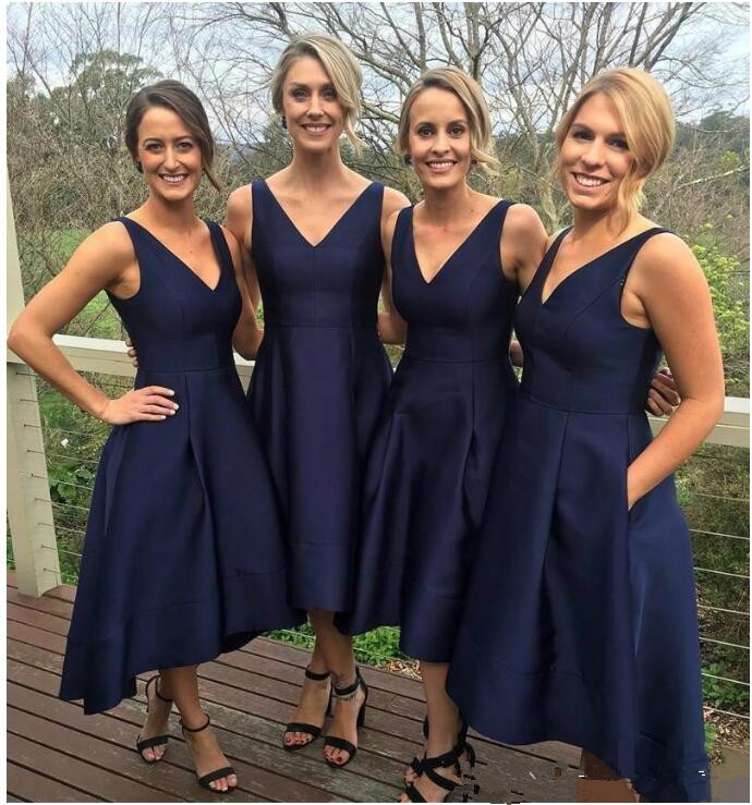 Navy Blue Front Short Back Long   Bridesmaid     Dresses   With Pocket Simple V-Neck Satin Short Party Gowns Formal Prom   Dress   2019