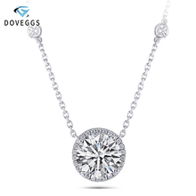 DovEggs Solid 14K 585 White Gold Center 5ct 11MM F Color Moissanite Halo Pendant Necklace for Women Wedding Gift Halo Pendant