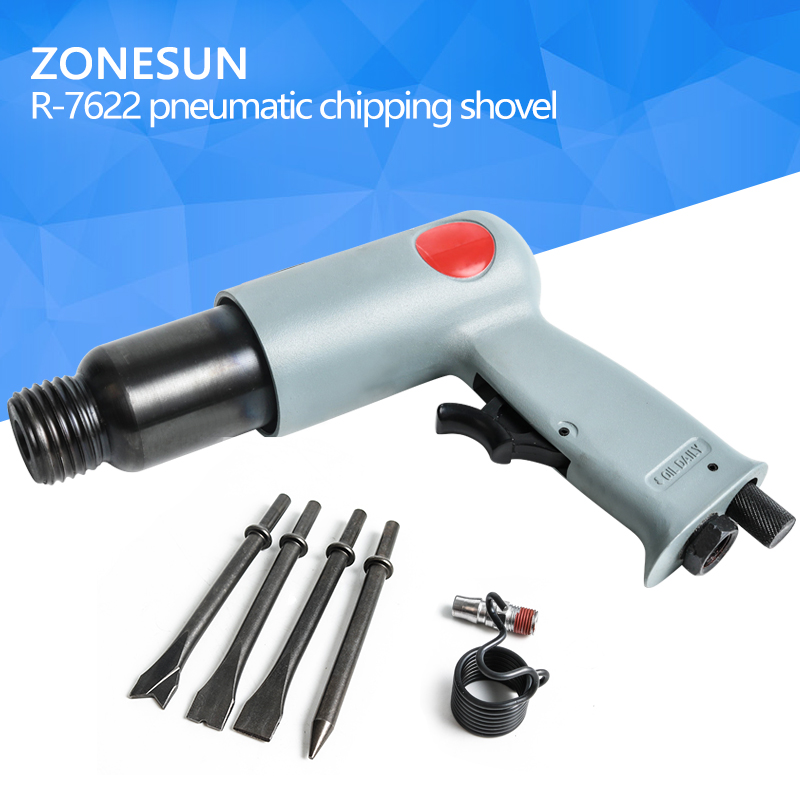 ZONESUN R-7622 Industrial pneumatic air shovel set air tools air chisel air rust remover wind shovel brake repair with 4 head 190 pneumatic shovel air chisel rust remover wind shovel pneumatic pick brake pad derusting tools with 5 head carton package
